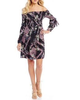 Printed Off-the-shoulder Smocked Sheath Dress