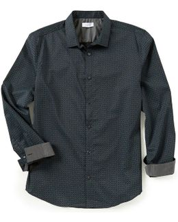Deco Grid Print Long-sleeve Woven Shirt