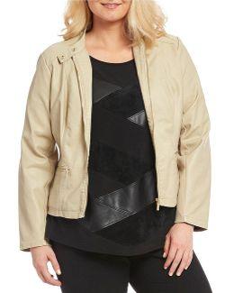 Plus Faux Leather Zip Jacket