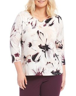 Plus 3/4 Sleeve Print Top