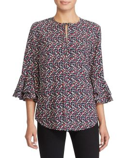 Geometric Print Crepe Top