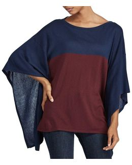 Color-blocked Silk-blend Poncho
