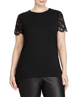 Plus Lace-sleeve T-shirt