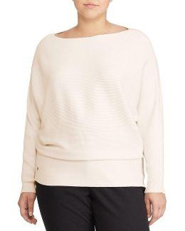 Plus Cotton-blend Dolman Sweater