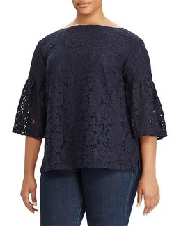 Plus Lace Boatneck Top