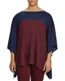 Plus Color-blocked Silk-blend Poncho