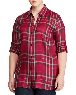 Plus Plaid Twill Shirt