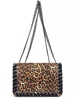 Zamia Velvet Whip-stitched Leopard-print Convertible Cross-body Bag