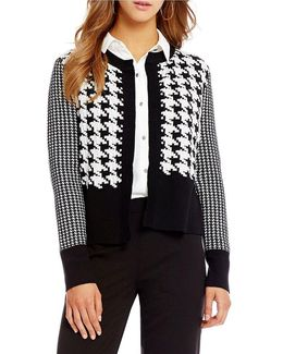 Mixed Houndstooth Check Ribbed Trim Open Front Cardigan