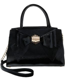 Bow You See It Faux-patent Chain-strap Satchel