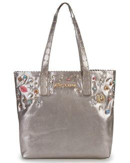 Betsey S Baubles Pearly Jewels Studded Metallic Tote