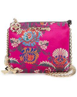 Shanghai Surprises Satin Chinoiserie Floral Chain-strap Cross-body Bag
