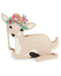 Fawning For You Floral Deer Chain-strap Cross-body Bag