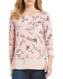 Blossom Floral Print Matte Jersey Georgette Hem Tunic