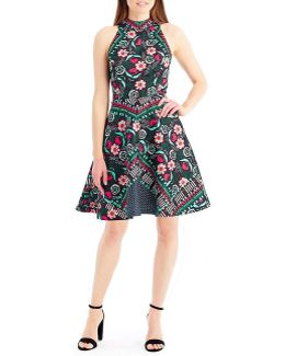 Mock Neck Jacquard Fit And Flare Dress