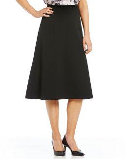 Scuba Crepe Midi A-line Skirt