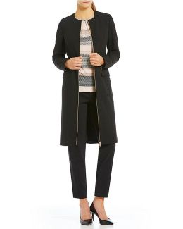 Luxe Stretch Suiting Zip-front Topper Jacket