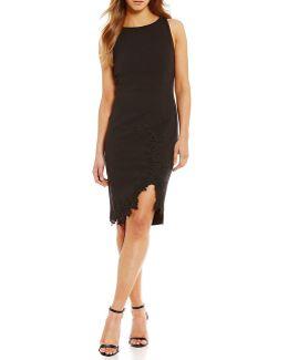 Scuba Crepe Lace Trim Front Slit Hem Sheath Dress
