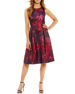 Floral Printed Brocade Fit-and-flare Dress