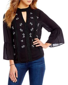 Embroidered Front Lace Trim Keyhole Neck Bell Sleeve Top