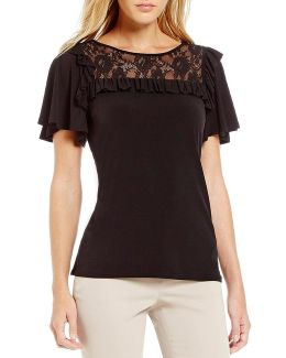 Ruffle Trim Lace Yoke Matte Jersey Top