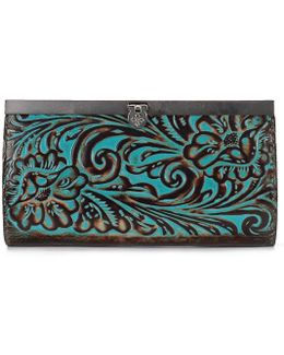 Turquoise Tooled Cauchy Wallet