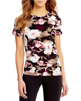 Petites Rib Pleated Floral Print Matte Jersey Short Sleeve Top