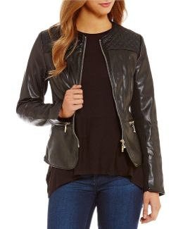 Faux Leather Quilted Yoke Zip Front Jacket