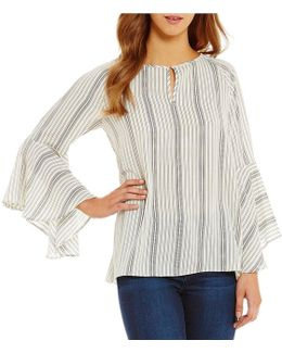 Bell Sleeve Stripe Peasant Top