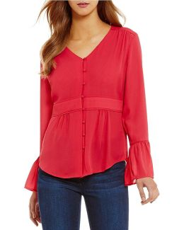 Georgette V-neck Ruffle Bell Sleeve Top