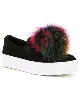 Great Faux Fur Pom Pom Slip-on Sneakers