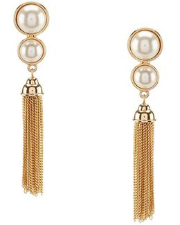 Chain-tasseled Faux-pearl Clip-on Drop Earrings
