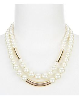 Faux-pearl Double-row Collar Necklace