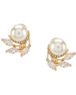 Faux-pearl Clip-on Stud Earrings