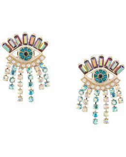 Colorful Evil Eye & Fringe Stud Statement Earrings