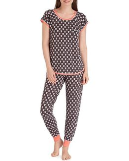 Owl-print Jersey Pajamas