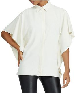 Petite Draped Button-up Top