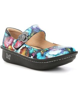 Paloma Floral-print Leather Mary Jane Clogs