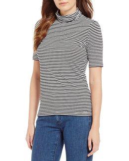 Stripe Knit Jersey Short Sleeve Turtleneck Top