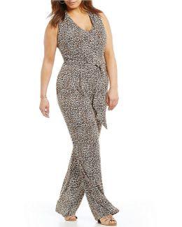 Plus Leopard Print Matte Jersey Halter Neck Jumpsuit
