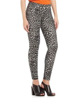 Panther Print Stretch Knit Twill Leggings