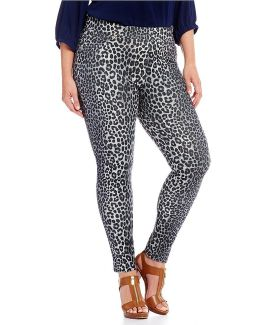Plus Panther Print Stretch Knit Twill Leggings