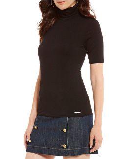 Knit Jersey Short Sleeve Turtleneck Top