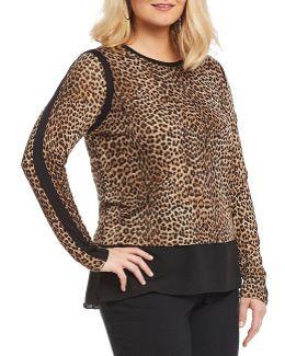 Plus Persian Leopard Print Knit Jersey Hi-low Georgette Hem Tunic
