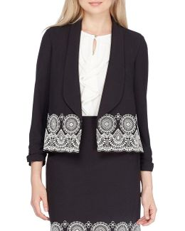 Petite Embroidered Open Jacket