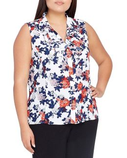 Tahari By Asl Plus Button Front Ruffle Blouse