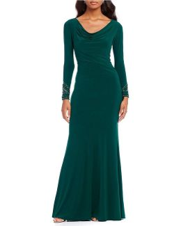 Cowl Neck Key Hole Back Gown