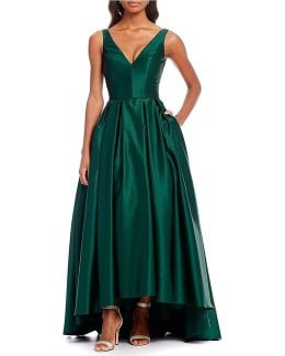 V-neck Hi Lo Gown