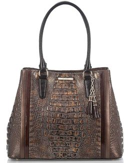 Cosimo Collection Joan Crocodile-embossed Tasseled Tote