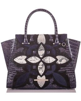 Palazzo Collection Crocodile & Snake-embossed Priscilla Satchel
